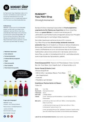 PDF | DIN-A4 | Datenblatt | MUNDART Yuzu-Mate-Sirup