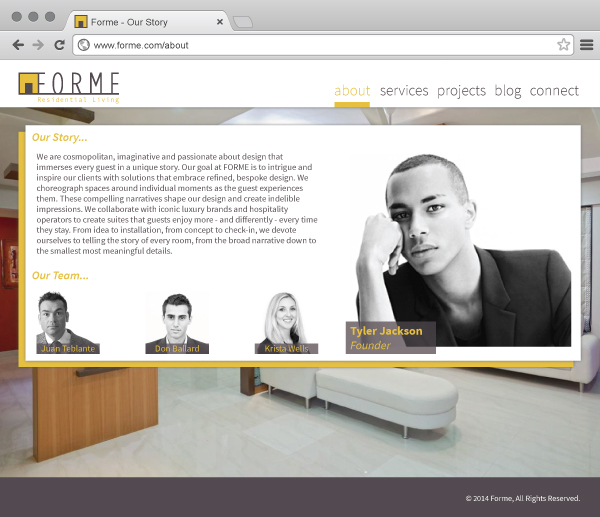 high-end residential interior FORME website about page
