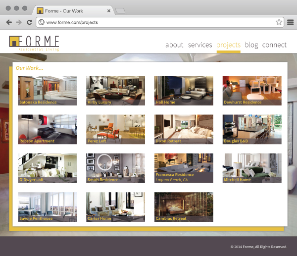 high-end residential interior FORME website project list page