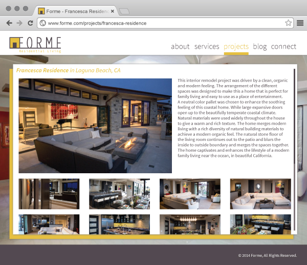 high-end residential interior FORME website project page