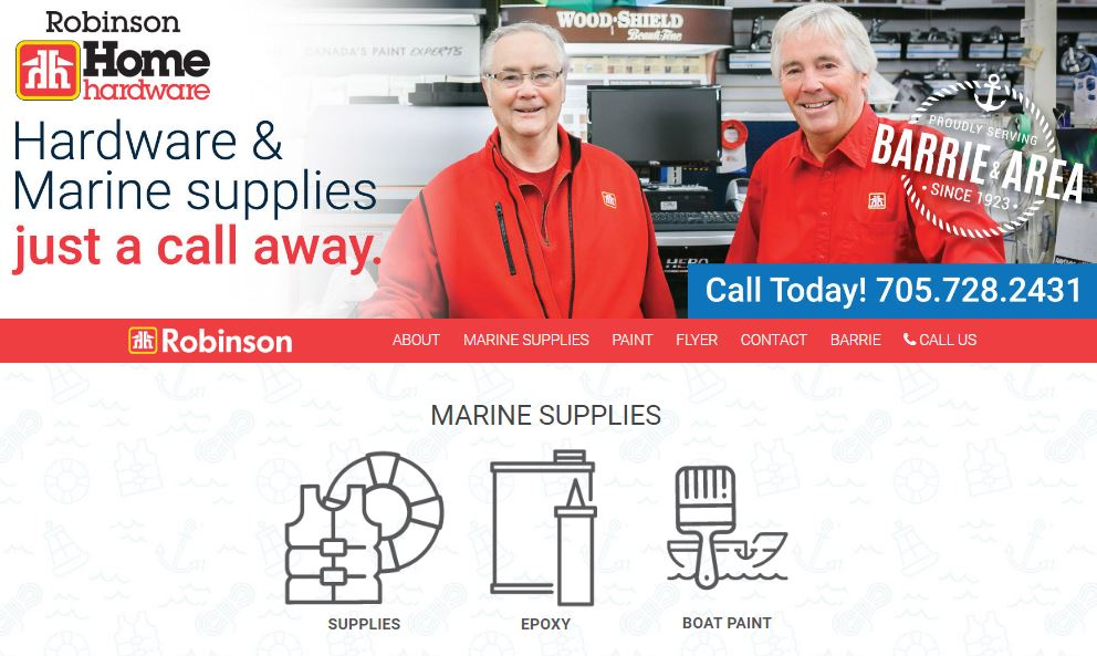 In 2017, a new website was created for Robinson Home Hardware that maintained the integrity of their dealer franchise while reinforcing their marine supply service.