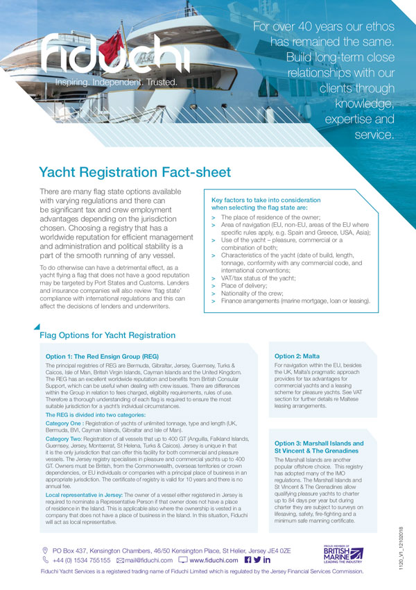 Yacht Registration Fact-sheet