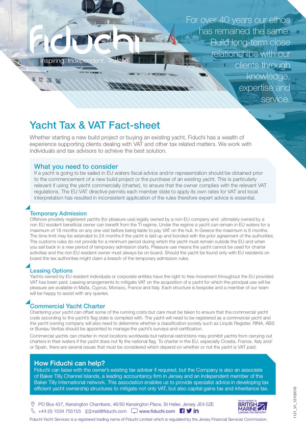 Yacht Tax & VAT Fact-sheet