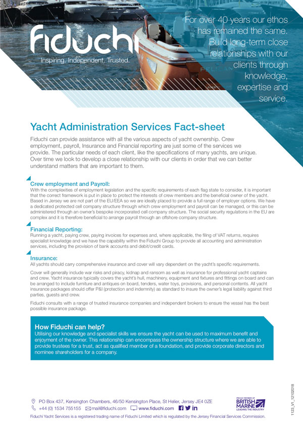 Yachts Administration Services Fact-sheet