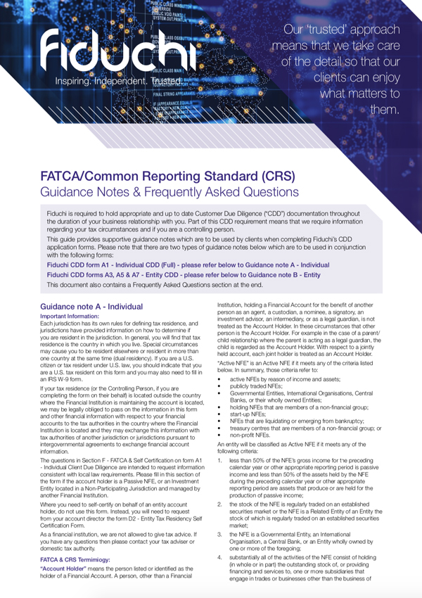 FATCA CRS Guidance Notes & FAQs