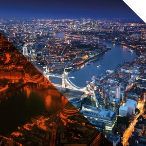 London city night time skyline