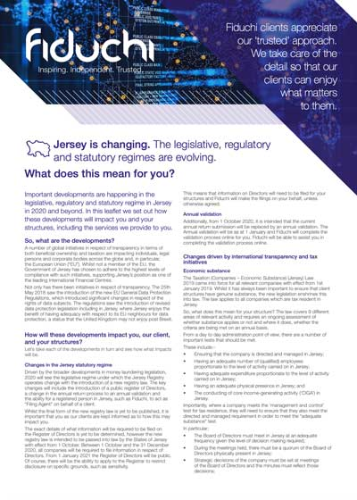 Changes in Jersey - A Client Guide