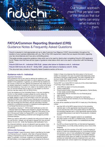 الملاحظات الإرشادية والأسئلة الشائعة حول FATCA CRS