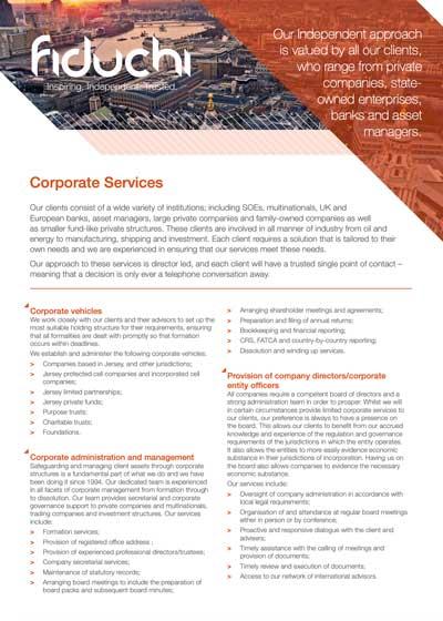 Folheto de serviços corporativos