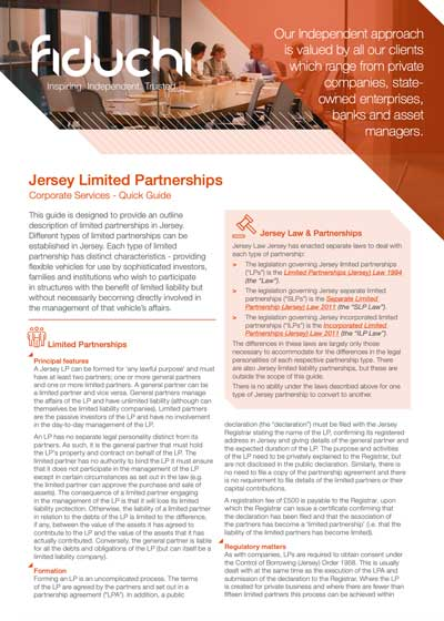Jersey Limited Partnerships - Quick Guide