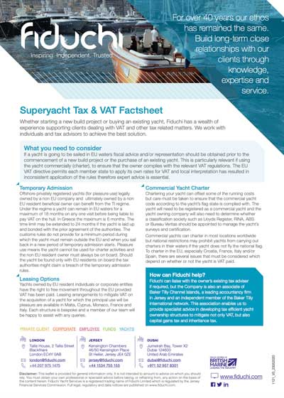 Superyacht Tax & VAT Factsheet