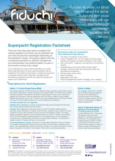 Superyacht Registration Factsheet