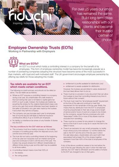 Fiduchi Employee Ownership Trusts (EOTs) Leaflet