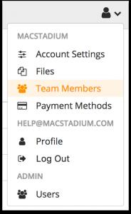 Team Members Menu