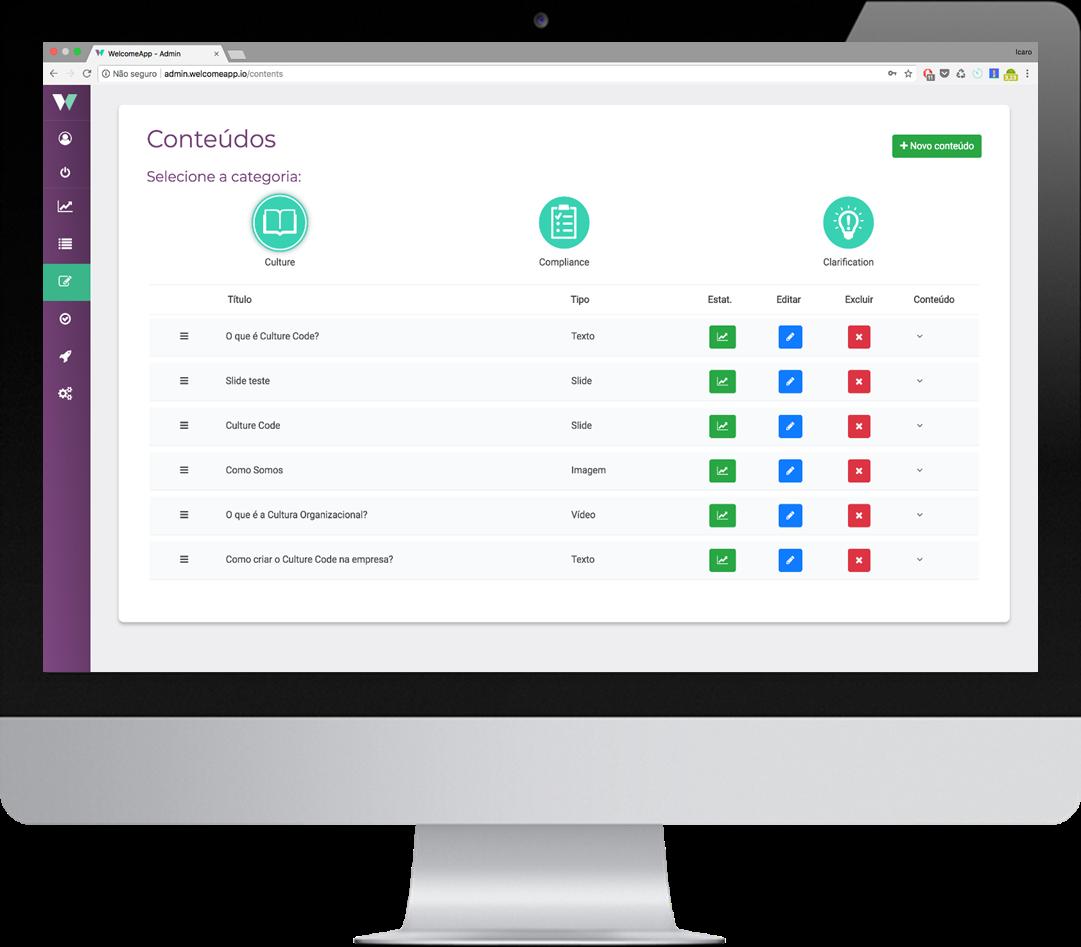 Demonstrativo de interface da plataforma administrativa do WelcomeApp.
