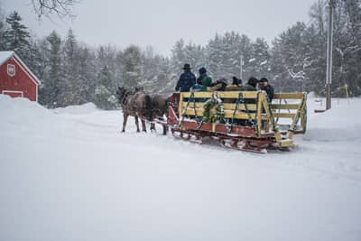 Horse-drawn Sleigh Ride at the Lake Clear Lodge & Retreat