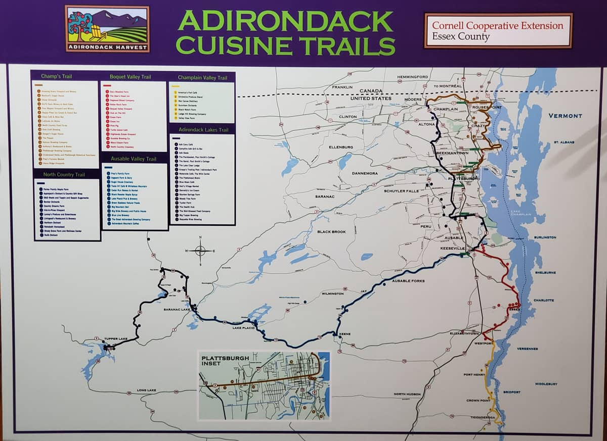 Map of the Adirondack Lakes Cuisine Trail Network