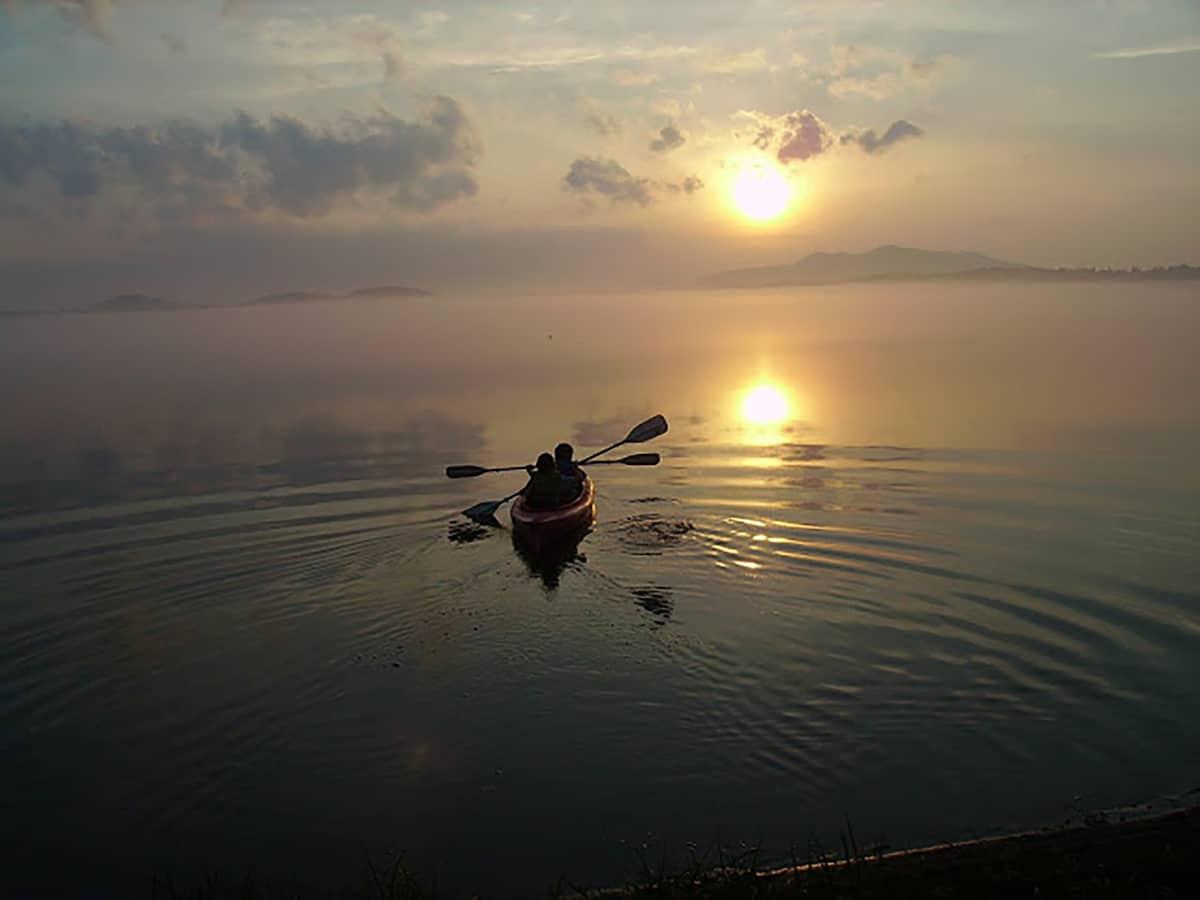 A foggy sunset canoe on Lake Clear.