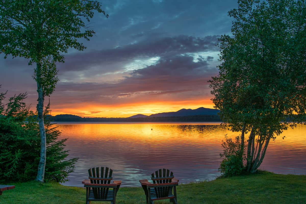 Hand-crafted Adirondack Chairs at our private beach front with lake view.