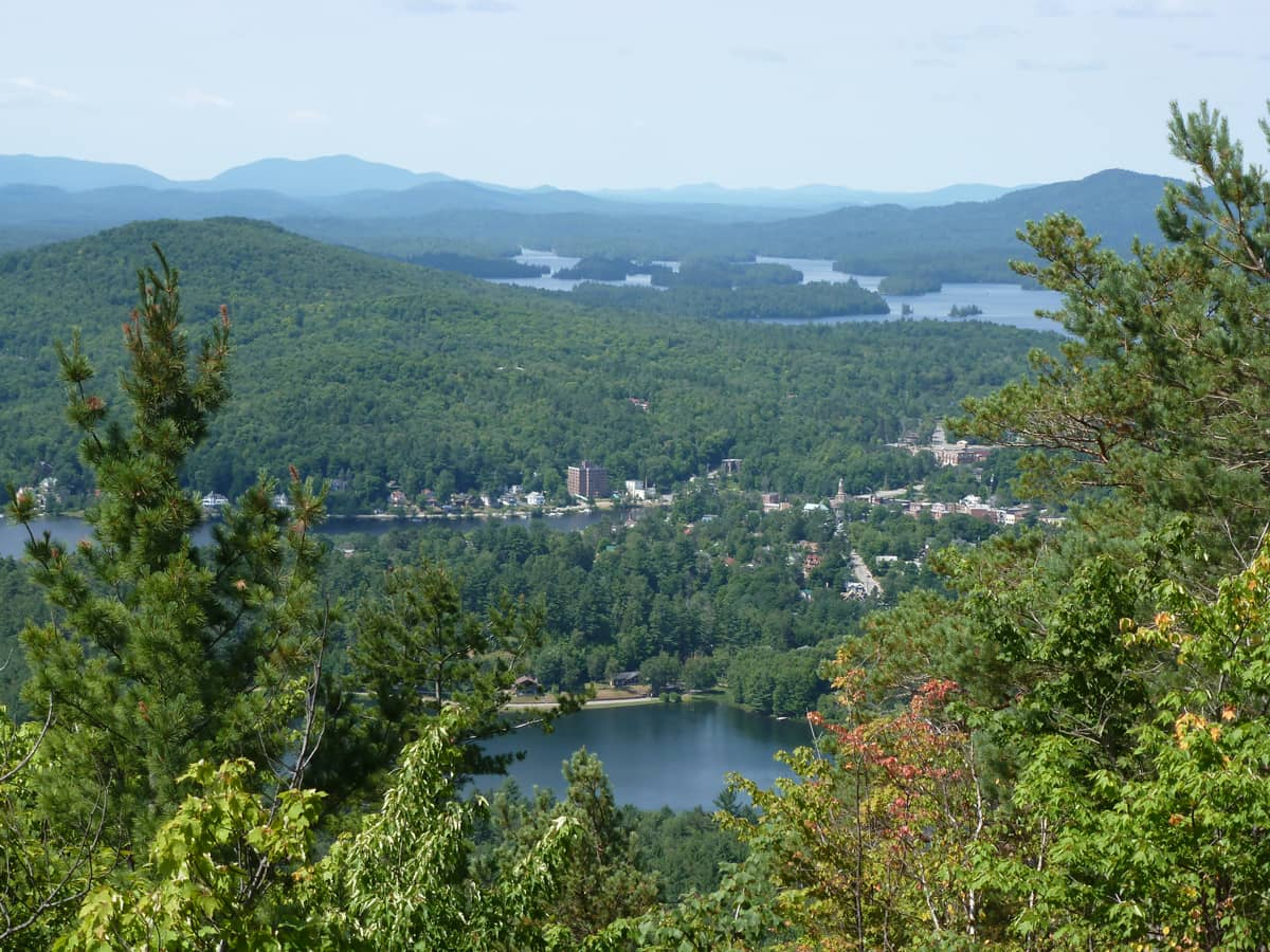 View of Downtown Saranac Lake from the summit of Baker Mountain.