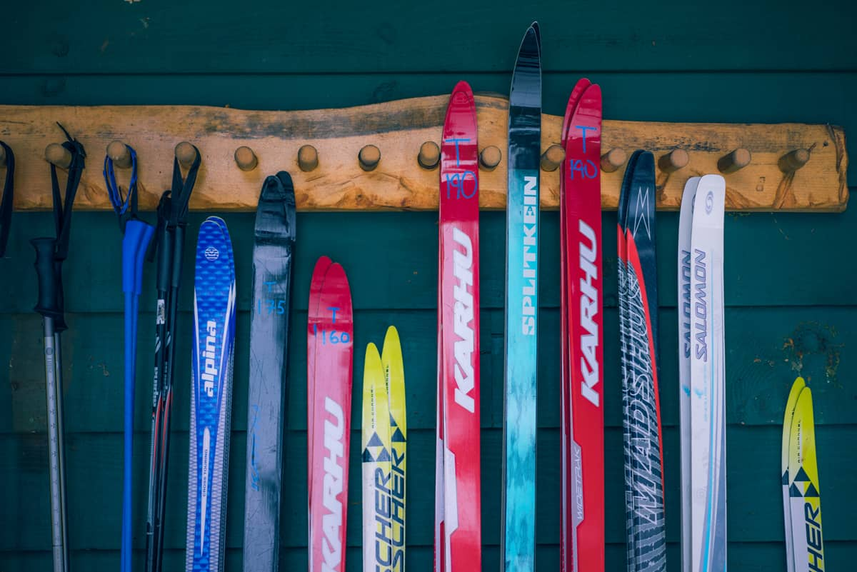 The fleet of cross-country skis at the Lake Clear Lodge & Retreat