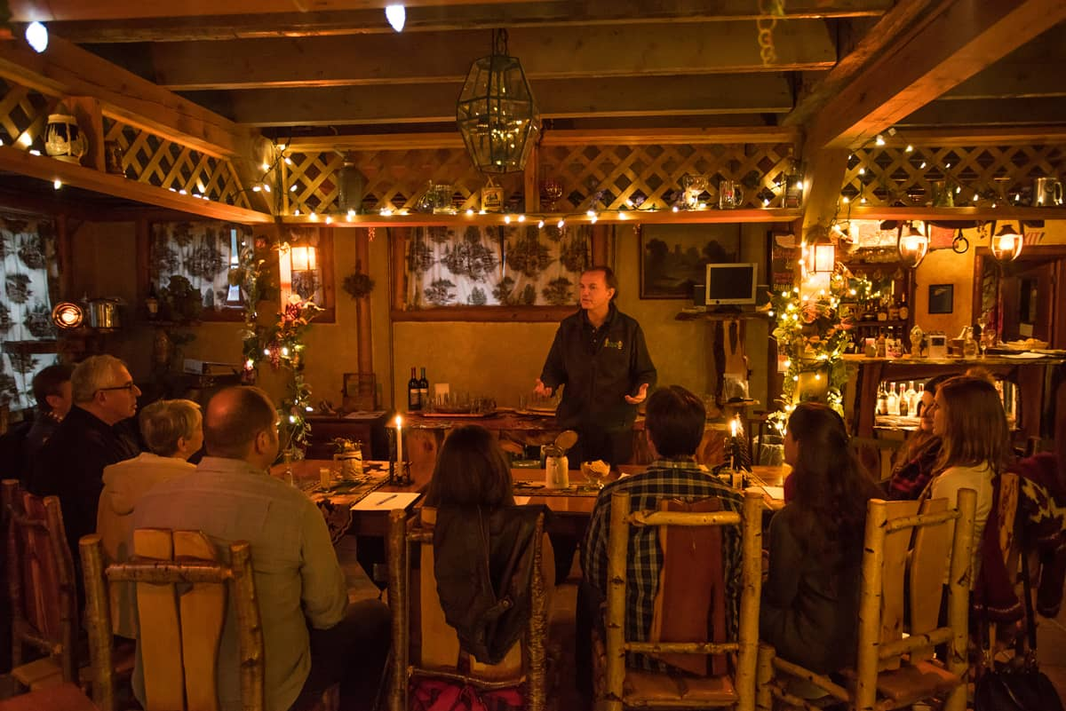 Ernest Hohmeyer gives a presentation on the History of Beer in the Speakeasy Rathskeller while guests sample different beers from around the world.