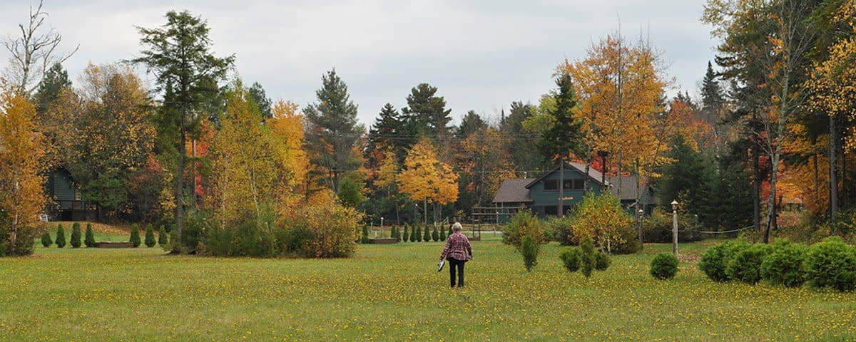 Great Camp Lawns in Fall Foliage in the Adirondacks, NY