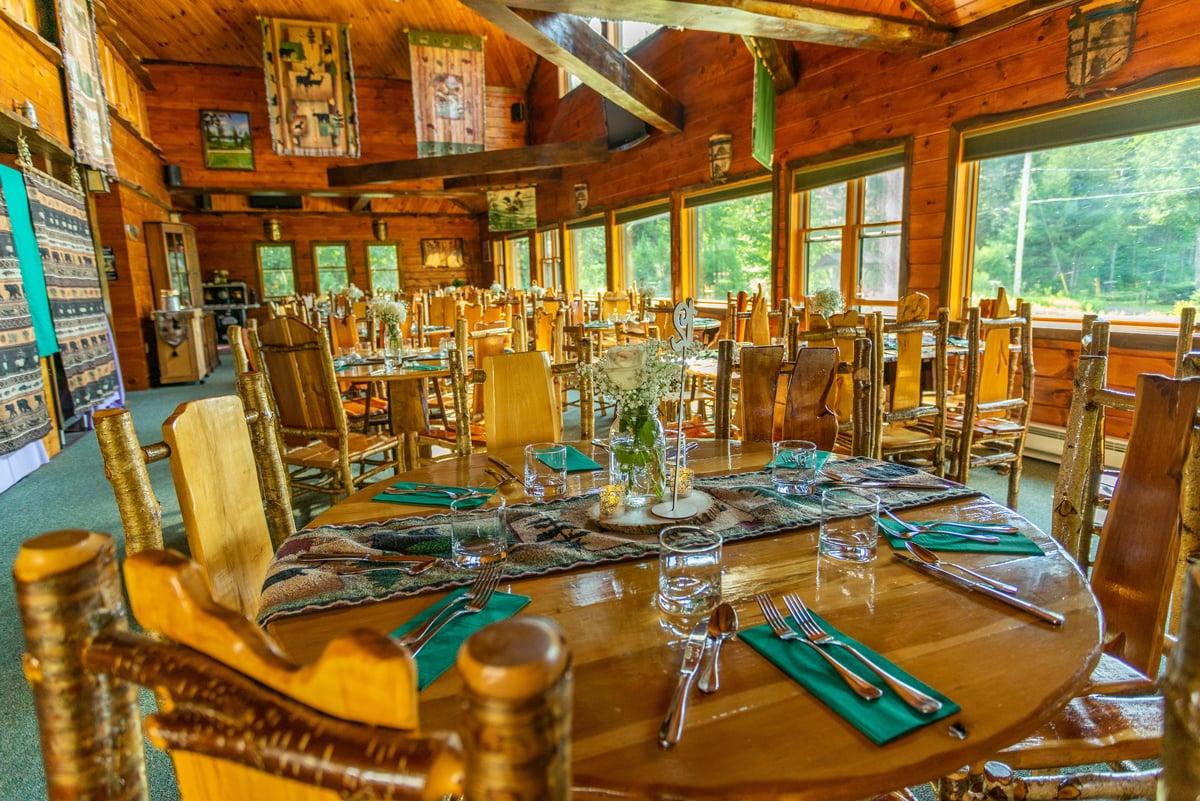 Inside of the Lake View Retreat Center set for the St. Regis Fire Tower Dinner Buffer Celebration