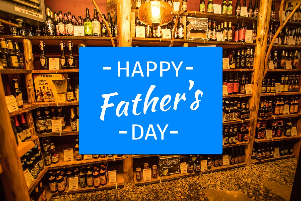 """Adirondack Alps Beer Cellar with """"Happy Father's Day"""" Overlay banner."""