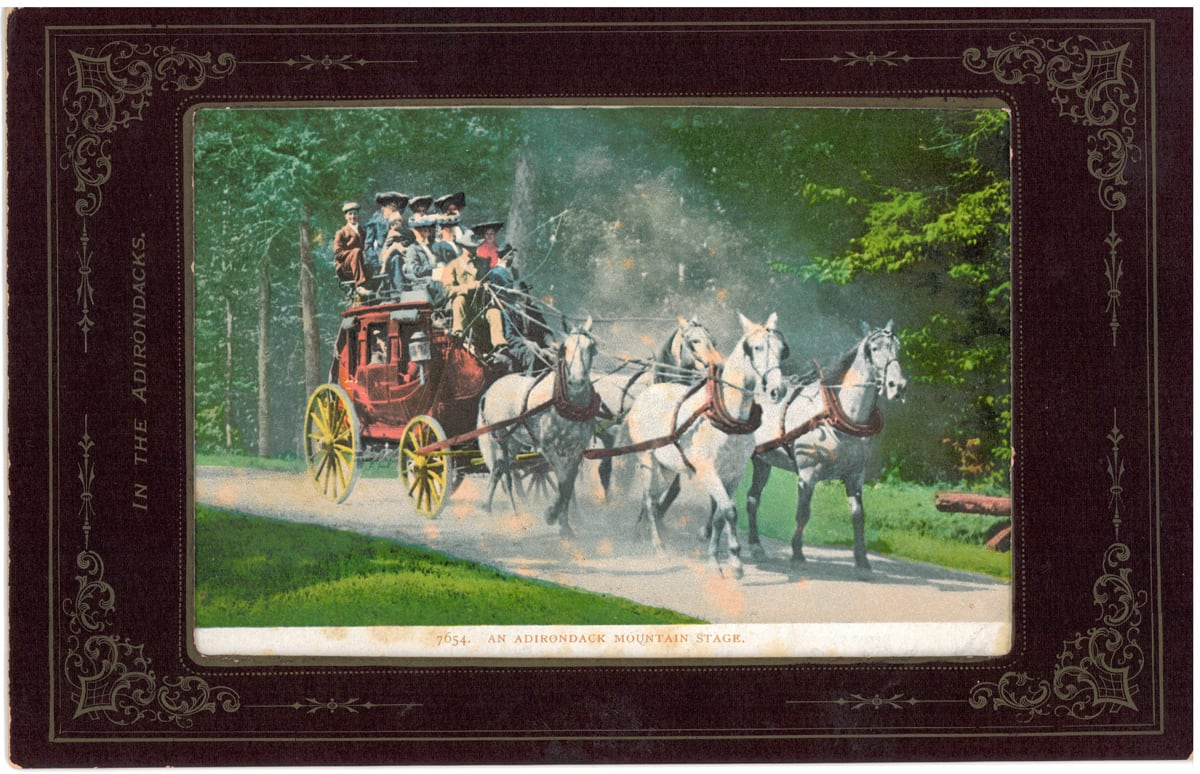 An Original 1800s Adirondack Stagecoach Postcard found at the Lake Clear Lodge & Retreat.