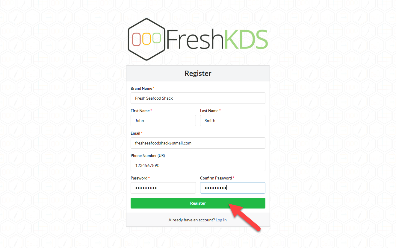 Fresh KDS Signup Step 2