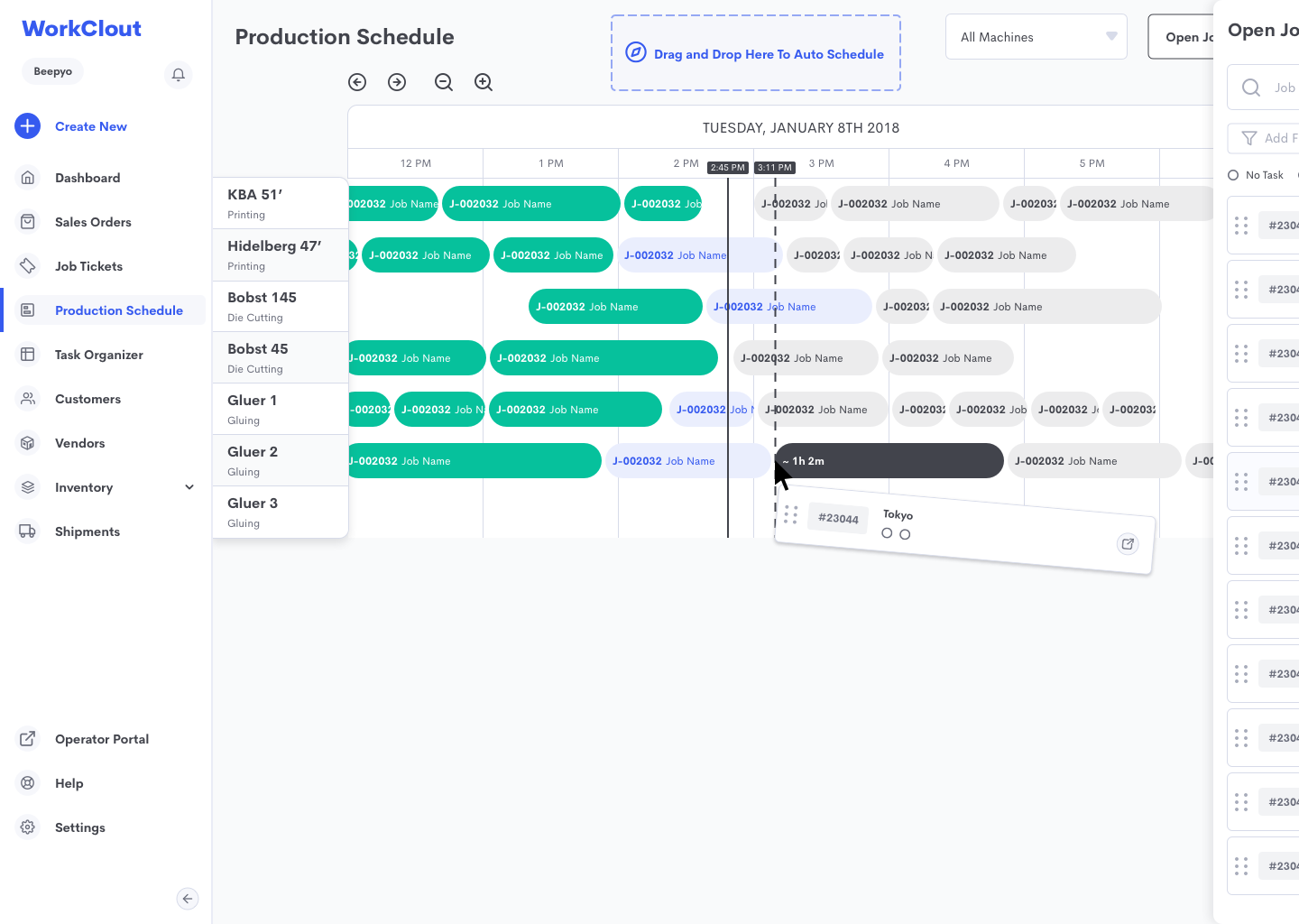 WorkClout's Advanced Production Scheduling Module