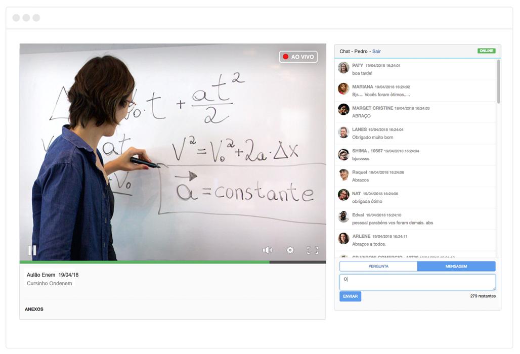 imagem de uma aula em vídeo ao vivo