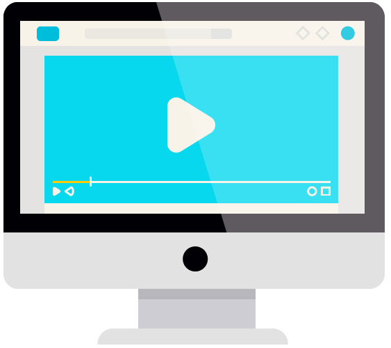 ícone de computador com player de vídeo