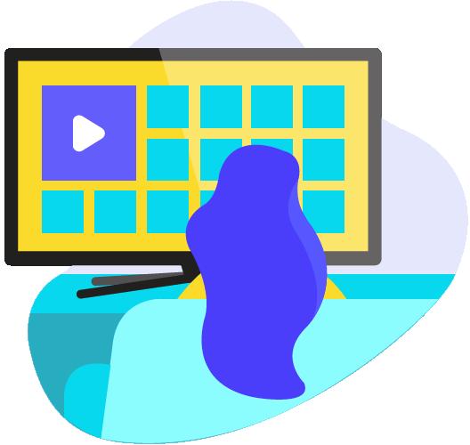 ícone de uma mulher assistindo TV por streaming