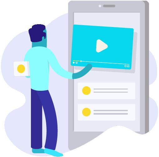 ícone de um homem colocando um player de vídeo em um celular