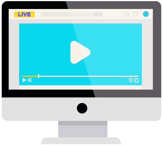 ícone de um computador com player de vídeo