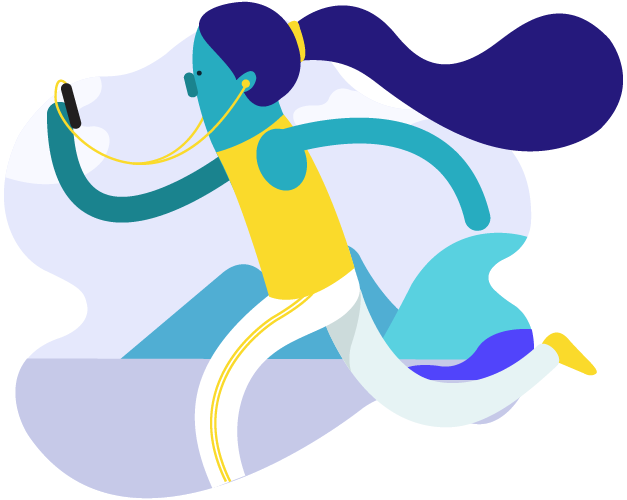 ícone de uma mulher correndo e assistindo uma live no celular