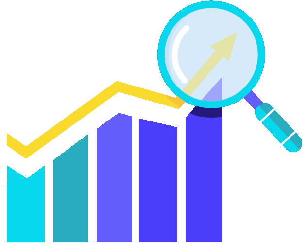 ícone de um gráfico ascendente com uma lupa