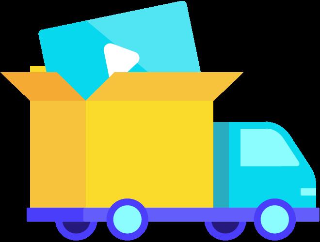 ícone de caminhão transportando um vídeo