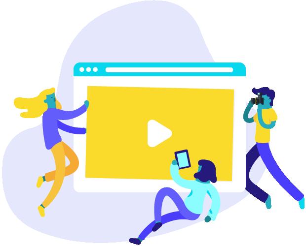 imagem de uma equipe de pessoas construindo um player de vídeo