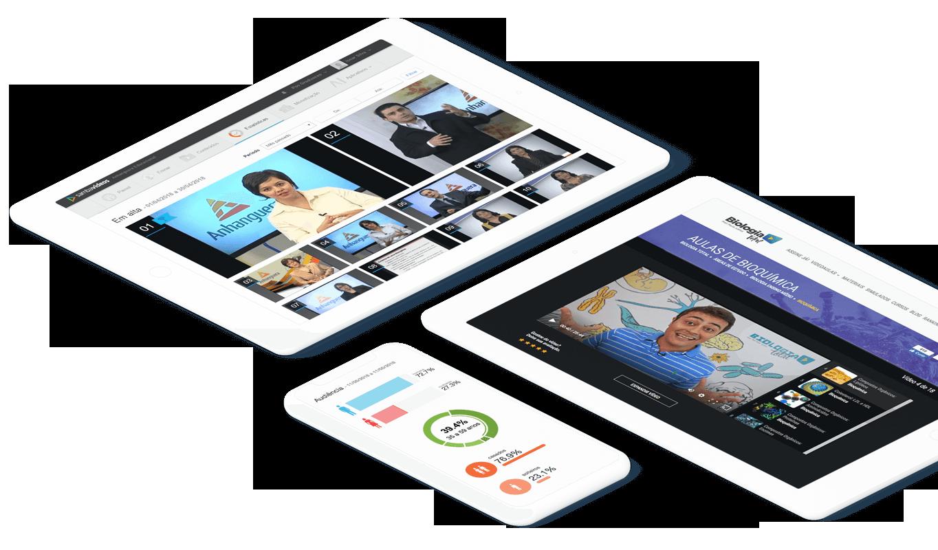 imagem de tablets e celular com plataforma de vídeo