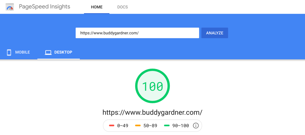 Example of test results for page loading speed