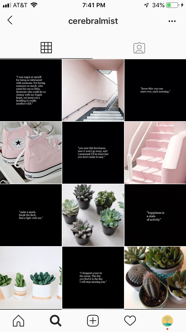 Good Instagram feed from @cerebralmist with a pleasing black and pink color scheme