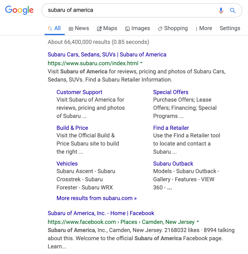 subaru of america's facebook page is the second Google result for their name