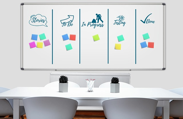 whiteboard with workflow for content calendar
