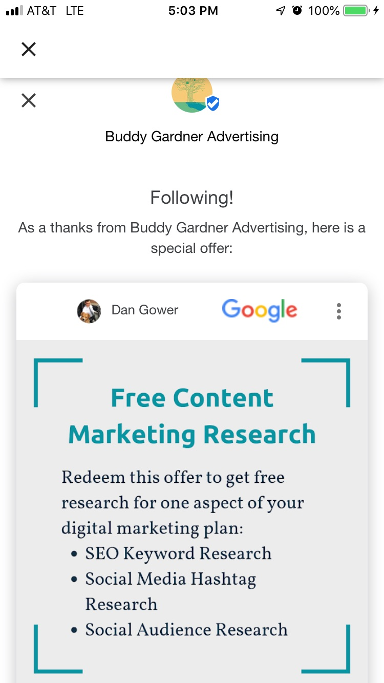 Google My Business welcome offer for Buddy Gardner advertising, which is free content marketing research