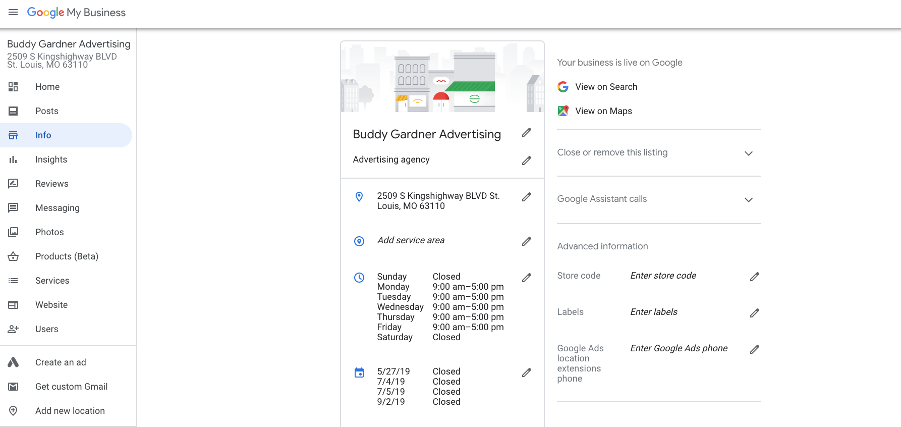 Google My Business info editor for the listing owner