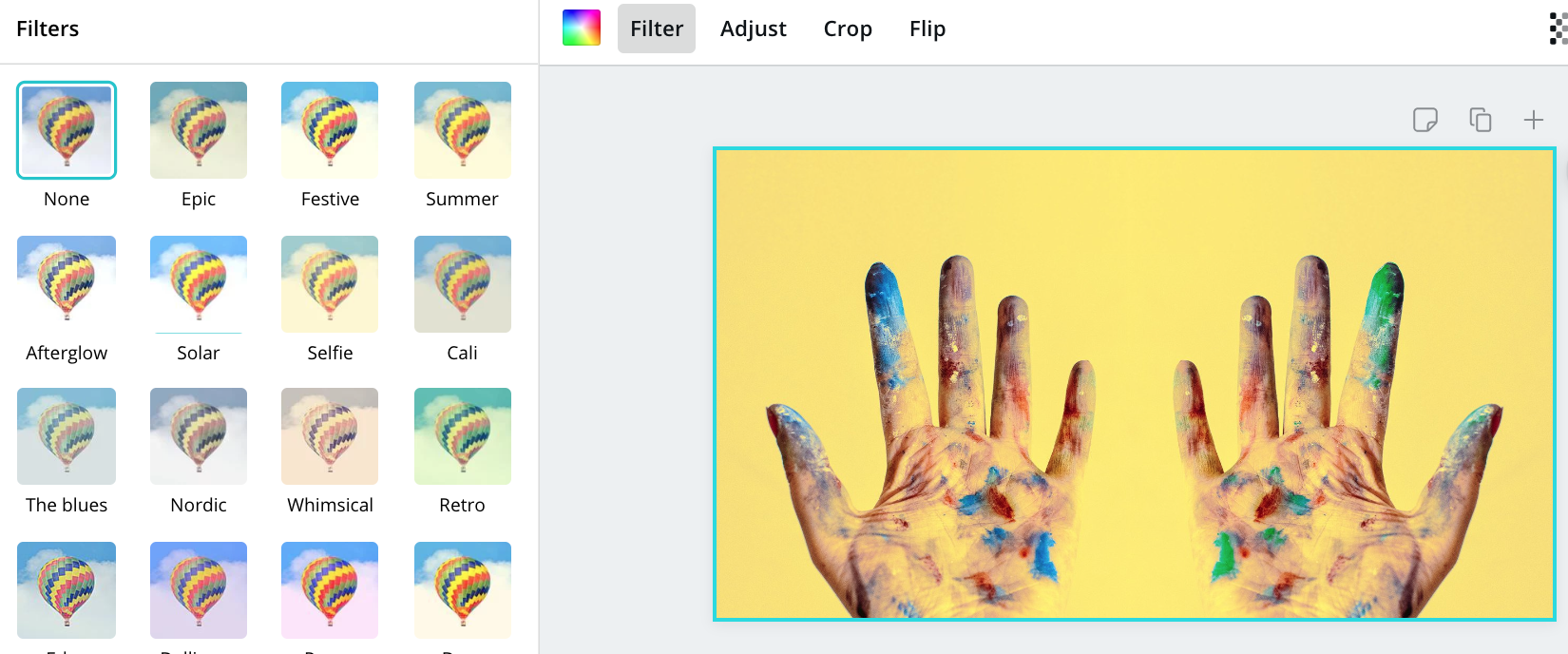 picture of dirty hands in Canva's photo editor while user selects a filter