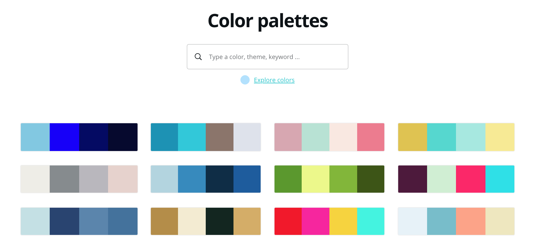 canva color palettes with different options for combinations